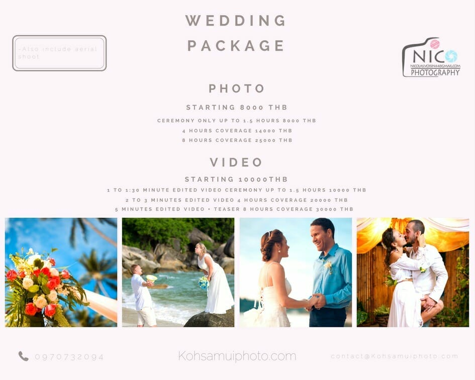 wedding photo and video Ko Samui price